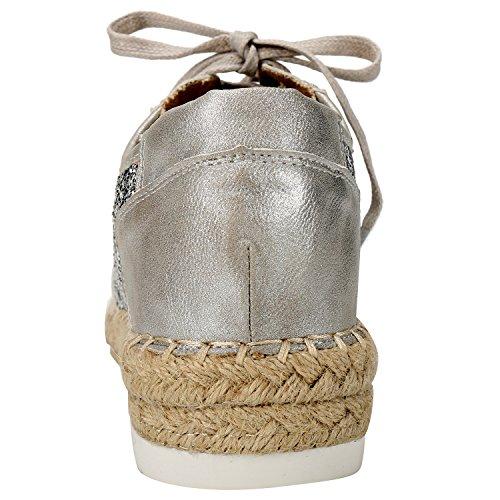 Alexis Leroy, Zapatillas planas con cordones casual low top mujer Plata