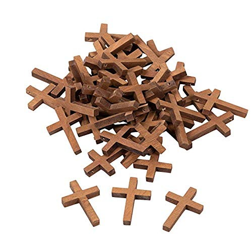 WQFXYZ 50-Pack Wood Cross Pendants - 1.2 x 1.75-Inch Mini Crosses, Cross Charms for Religious Party Favors, Sunday School DIY Craft