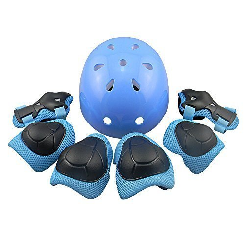 Kids Sports Knees Elbows Wrists Head Support Protection Helmet Set