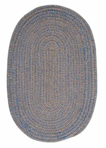 Chenille Braided Rug 4ft. x 4ft. Round Blue Ice Check Soft Bedroom Rug