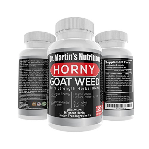 Super Strength 1000 MG Horny Goat Weed- 120 capsules- With Maca Root Powder, L-Arginine & Ginseng Root - Highest Potent Available - 100% Natural Herbal Supplement For Men and Women,