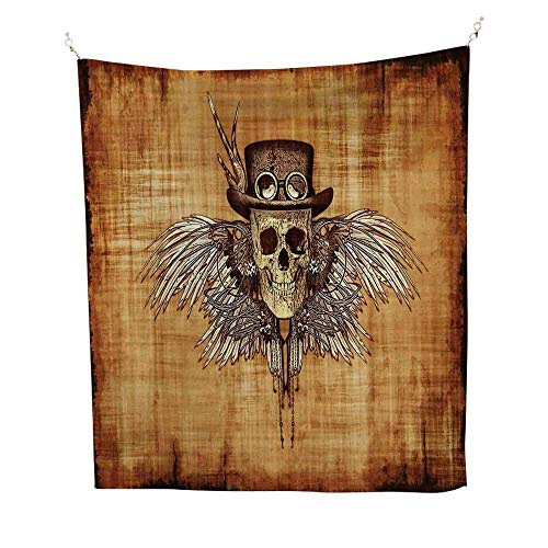 Skullfunny tapestryCool Skull Icon on Parchement Background Retro Style Dead on Eagle Wings Gothic 60W x 80L inch Quote tapestryBrown Orange