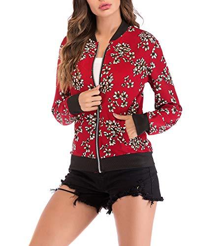 Printemps Femmes Fashion Jeune Manches Bomber Automne Imprim Casual Longues Jacket Outerwear Top Blousons 4rFA4qw5x