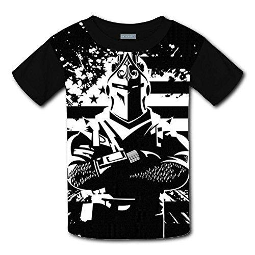 Unisex Youth 3D Fortnite Dark Warrior 3D Printing T- Shirts Short Sleeve Kids Tee S by XiuHongShangMAo