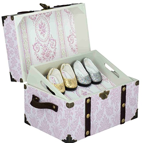 Pink Steamer Accessory Trunk for 18 Inch American Girl Doll Accessories. Great to Store Shoes and Smaller Doll Clothes Accessories. Perfect Jewelry Box Later! - Doll Box Costume