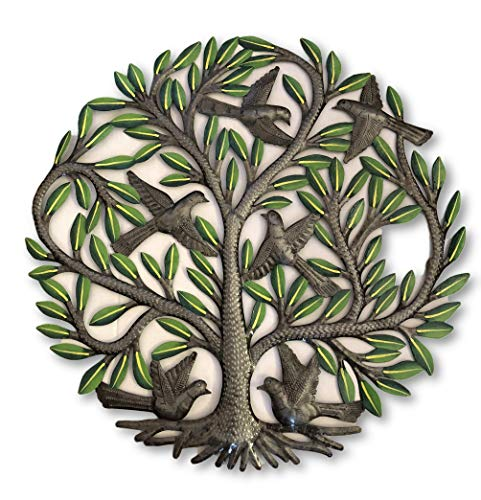 - Painted Family Tree of life Wall Sculpture, Colorful Haitian Steel, Handmade and Decorative, Home Decor Wall Hangings, Roots, Flowers, 24