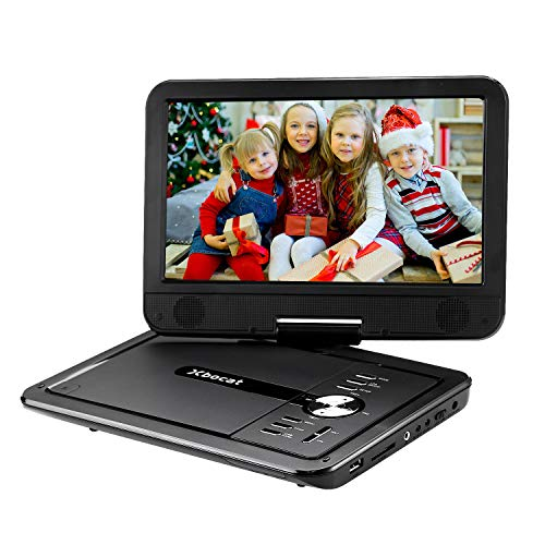Xbocat Portable DVD Player with 10.5 Swivel Screen, Personal DVD Player with Rechargeable Battery for Car, Support 64GB USB Port and TF Card