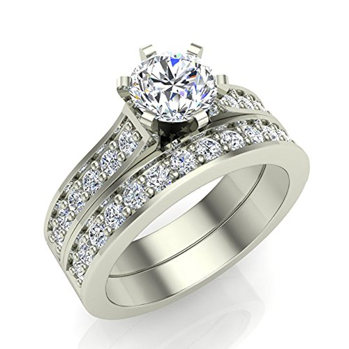 1.25 ct tw Round Brilliant Accented Diamond Engagement Ring Wedding Set 14K Gold (J,I1) Popular Quality