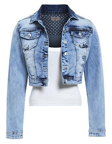 SS7 Nouvelles Femmes Extensible Veste En Jeans, Tailles 36  44 Jeans Dlav Bleu