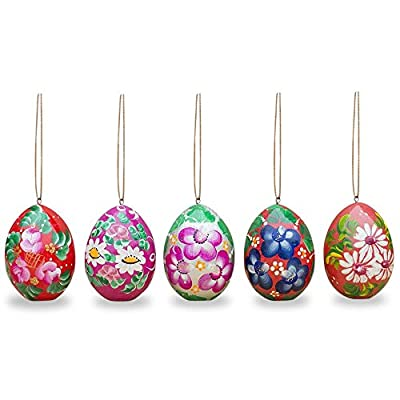 """2.5"""" Set of 5 Flowers Wooden Pysanky Easter Egg Ornaments"""