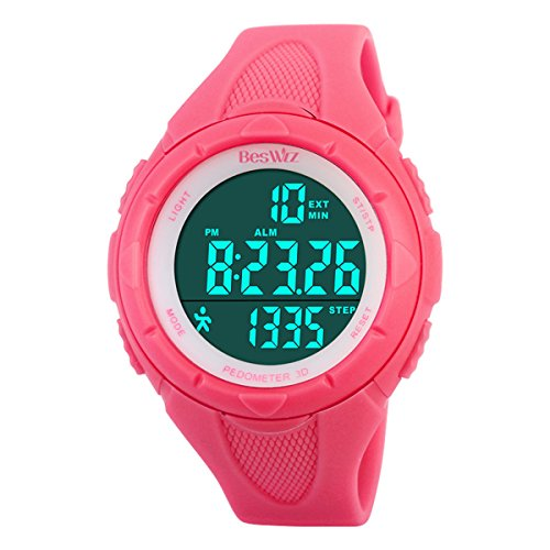 Digital Watches Outdoor Sport Waterproof Multi-Function Swimming Wistwatches with Alarm Stopwatch Watches Pink