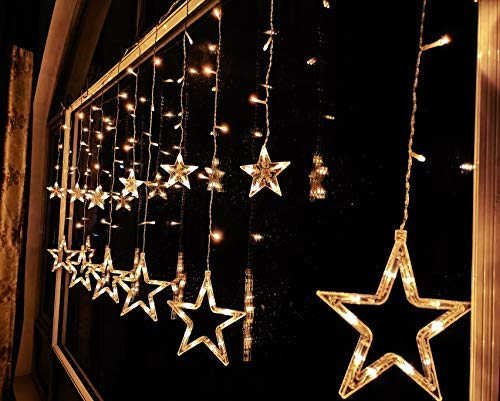 FuChsun Icicle Star Curtain String Lights 138 LED Starry Warm White 6.56
