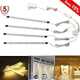Under Cabinet LED Lighting, 4-Pack Kitchen Light Bar, 5 Watt Energy Saving Light Strip for Closet, Kitchen Cabinet, Under Counter Lighting (Warm White)