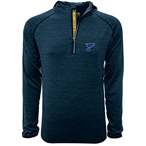 Levelwear NHL St. Louis Blues Adult Men Apex Bold Hooded Quarter Zip Mid-Layer, XX-Large, Heather Navy
