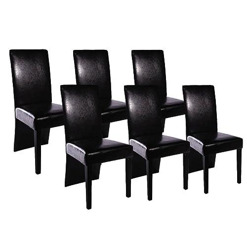 vidaXL 6x Chaise de Salle à Manger Cuisine Cuir Artificiel Noir Siège à Manger