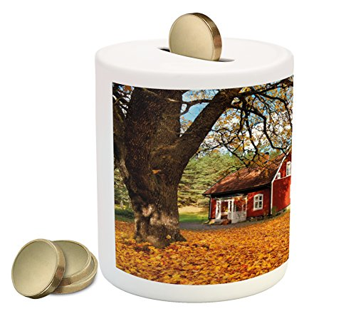 Ambesonne Fall Piggy Bank, Quaint Traditional Red Swedish House Tranquil Environment Cottage Countryside Woods, Printed Ceramic Coin Bank Money Box for Cash Saving, Multicolor