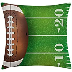 Boy's Room Throw Pillow Cushion Cover American Football Field Ball Realistic Vivid Illustration College 18 X18 inches