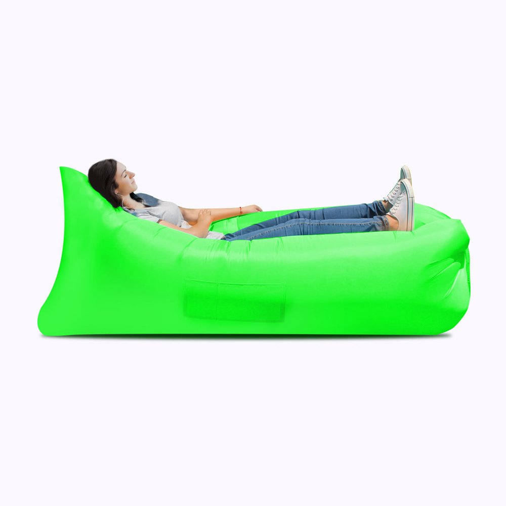 Inflatable bed Inflatable sofa bed, inflatable bed, portable waterproof leakproof sofa bed, travel goods, camping supplies, beach travel camping picnic chaise longue sofa bed ( Color : Green ) by JYKJ