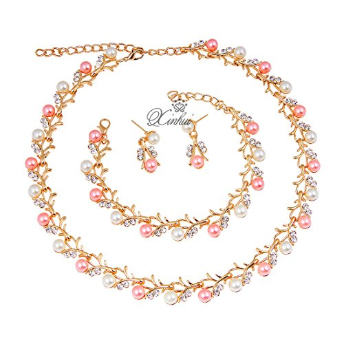 Xin Hui Gold/Silver Pink Pearl Jewelry Set Women Rhinestone Necklace Sets Accessories for Women (Pink (Pink Lady Accessories)