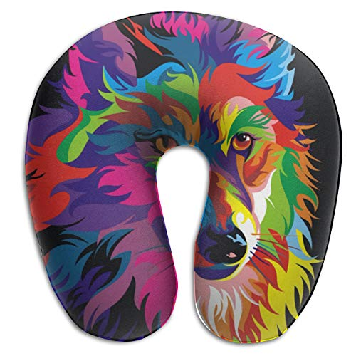 NiYoung Neck Pillow Travel Pillow Psychedelic Wolf Compact Pillow Neck-Supportive U Shape Pillow, Breathable & Comfortable, Bus Restful Sleep Neck Pillow, Creative Gift ()