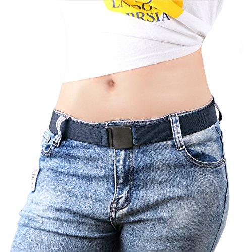 Ladies Slim Belt - No Show Women Stretch Belt Adjustable Elastic Web Strap Belt with Flat Buckle