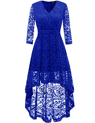 (DRESSTELLS Women's Bridesmaid Dress Hi-Lo Floral Lace Cocktail Party Dress with Sleeves Royal Blue M)