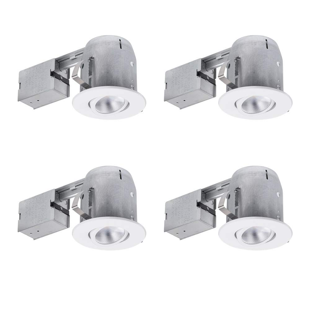 Globe Electric 5 LED IC Rated Swivel Round Trim Recessed Lighting Kit White LED Bulb Included 4.25 Hole Size 90746 Easy Install Push-N-Click Clips