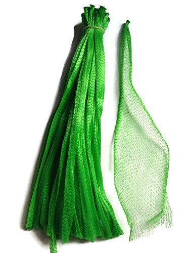 Sajid Store 100pcs 15' Green Reusable Nylon Mesh net Produce Grocery Toys Fruits Vegetables Drawstring Storage Poly Bags