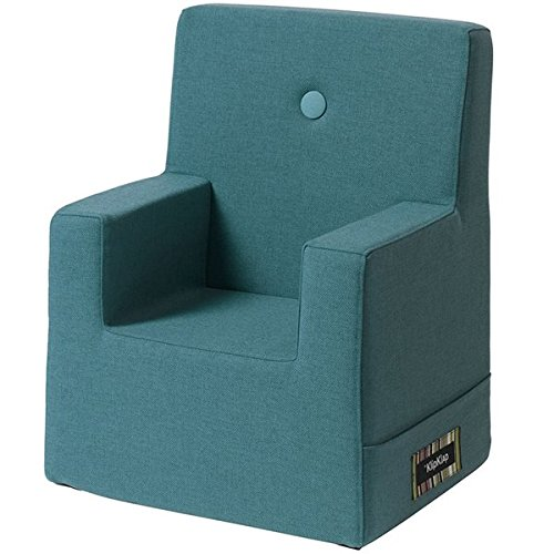 by KlipKlap Kids Chair XL - Dusty Blue with Blue Button