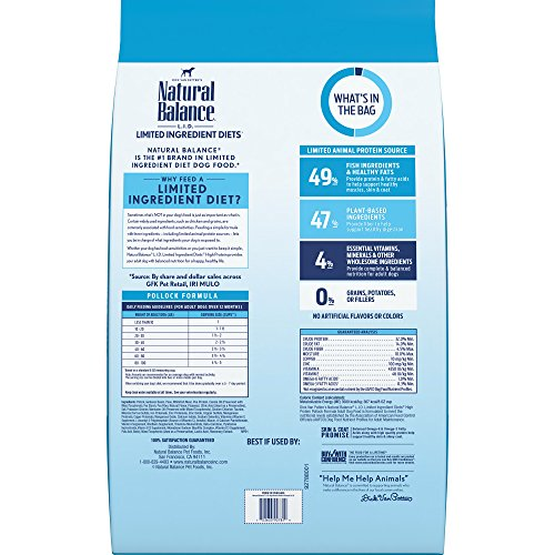 Picture of Natural Balance Limited Ingredient Diets High Protein Dry Dog Food, Pollock Formula, Grain Free, 24-Pound