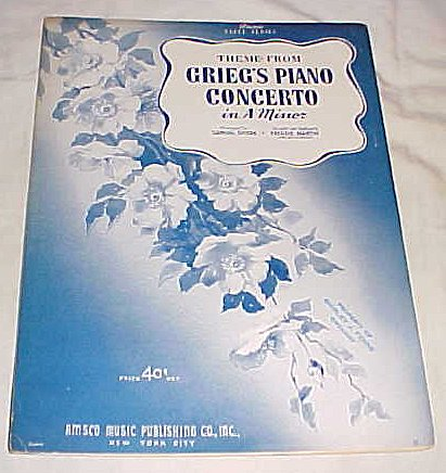 Theme From Grieg's Piano Concerto in a Minor Sheet Music 1942 (Grieg Concerto In A Minor Sheet Music)