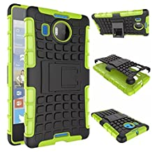"""Microsoft Lumia 950 XL 5.7"""" Case, DRUnKQUEEn Heavy Duty Rugged Hybrid Armor Dual Layer Hard Shell Tire Tread Grenade Grip Combat Textured Cover with Kickstand for Lumia 950XL (**Not for Lumia 950)"""