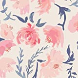 Pink Blue Watercolor Peony Fitted Crib Sheet
