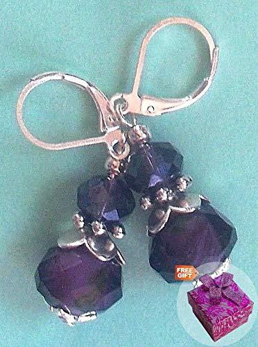 Earring Lampwork Crystal - Dark Purple Lampwork Crystal Earring Sp Leverback Handcrafted Rhinestone Earrings For Women Set + Gift Box For Free