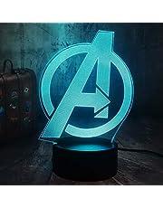 Superhéroe Marvel Comics Marvel Legends 3D RGB Led Night Light Niños Juguetes Navidad Regalo Lámpara de mesa Decoración del dormitorio