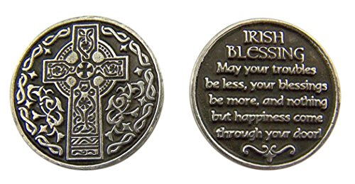 (Religious Gifts Silver and Black Tone Celtic Cross with Irish Blessing Devotional Prayer Token, 1 1/8 Inch)