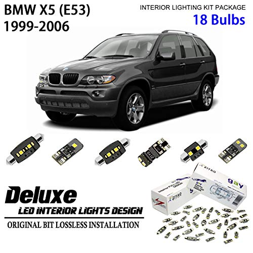 ZIYO ZPL2051 - (18 Bulbs) Deluxe LED Interior Light Kit 6000K Xenon White Dome Light Bulbs Replacement Upgrade for E53 1999-2006 BMW X5 (Panoramic ()