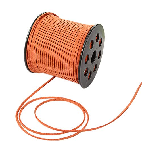 (100 Yards Faux Suede Lace String Soft Beading Cord Thread Velvet Ribbons for Bracelet Necklace Jewelry Making Embellishment Trimming (Orange))