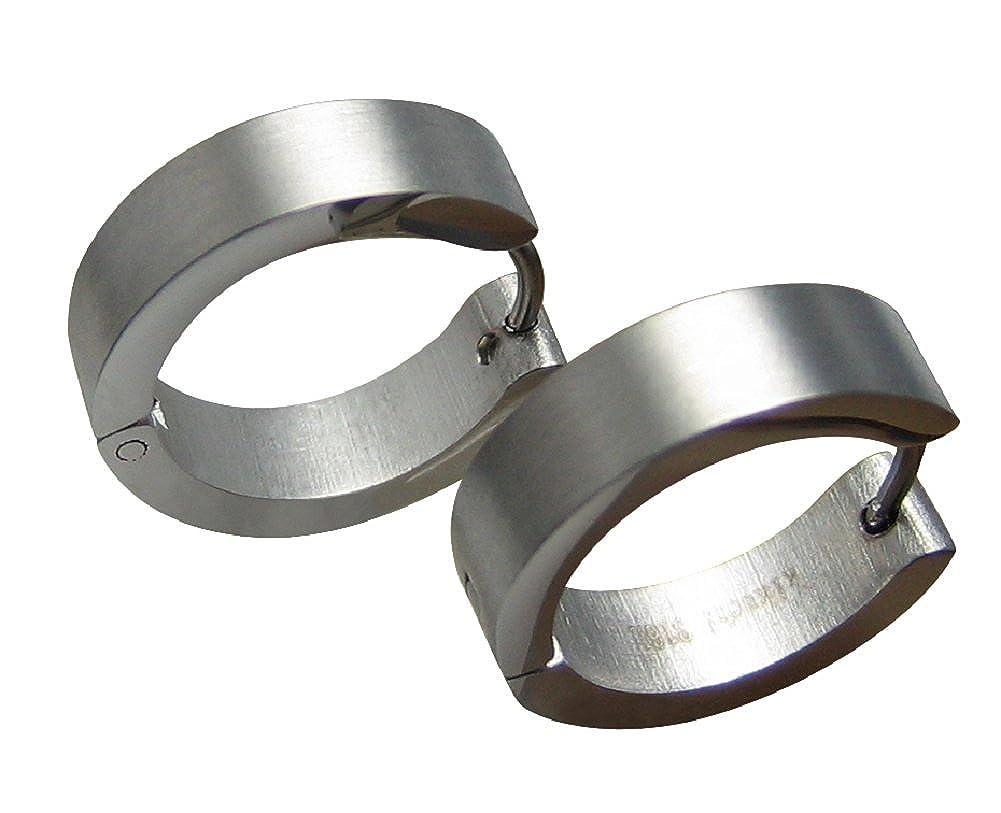 Kikuchi Klassische Ohrringe silber matt Männer Edelstahl klapp Creolen 5mm//13mmØ