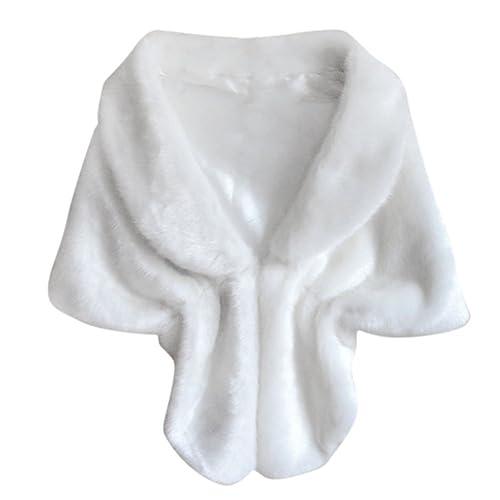 PanDaDa De las Mujeres Abrigos de piel Poncho Faux Fox Fur Chal para la Boda