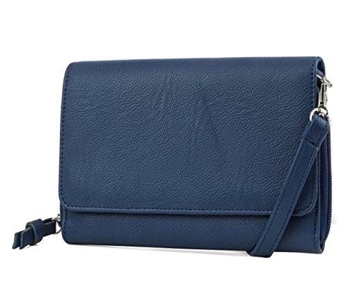 Mundi RFID Crossbody Bag For Women Anti Theft Travel Purse Handbag Wallet Vegan Leather (Blue)