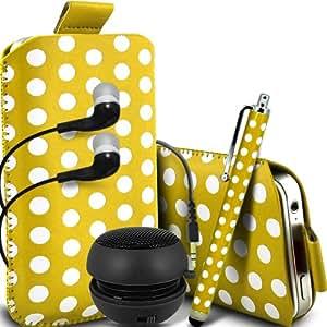 ONX3 Nokia Asha 503 Leather Slip protectora Polka PU de cordón en la bolsa del lanzamiento rápido con Mini capacitivo Stylus Pen, 3.5mm en auriculares del oído, Mini Altavoz Cápsula recargable (amarillo y blanco)