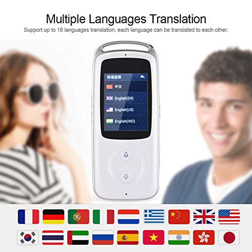Yosoo- 2.4-inch TFT Touch Screen Handheld Small and Exquisite Smart Real Time WIFI Voice Translator 18 Languages Multilingual Travel Translator Ideal Choice for Senior Citizens (白色) by Yosoo- (Image #6)