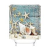 Seashell Conch Starfish Shower Curtain Bathroom Shower Curtain Fishing Nets Beach Ocean Decor Waterproof Bathroom Accessory