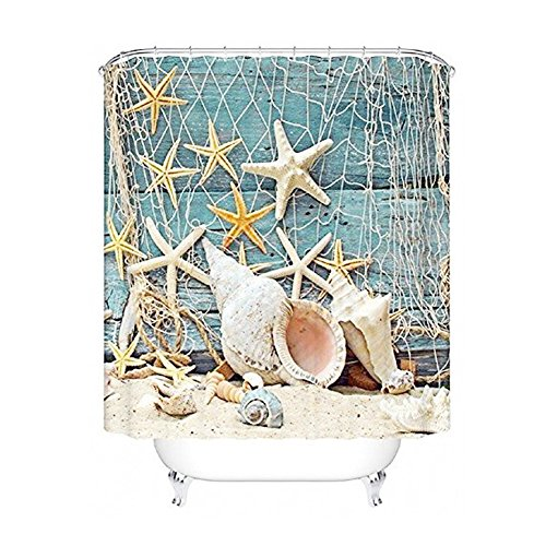 BROSHAN Seashell Conch Shower Curtain Fishing Nets Beach Ocean Decor Fabric Shower Bathroom Curtain Accessories Decoration 71x 71inch (Nets shell)