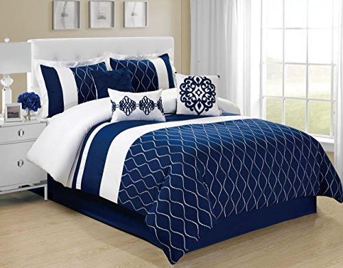 7 Piece King Malibu Navy/White Comforter (White Malibu 100 Collection)