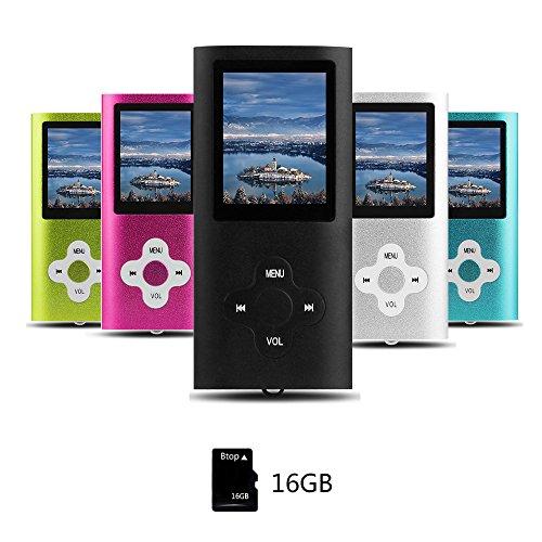 Btopllc Lecteur de musique MP3/MP4 16Go Lecteur de son portable sans perte Compact Lecteur de musique numérique LCD mini port USB Lecteur de musique audio Support Musique,Ebook,Image - Noir