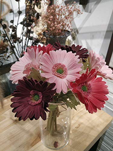 Ahvoler 7 Pcs Artificial Gerbera Flower Realistic Fake Daisy Flowers Bridal Wedding Bouquet for Home Garden Wedding Party Decorations (Wine+Pink)