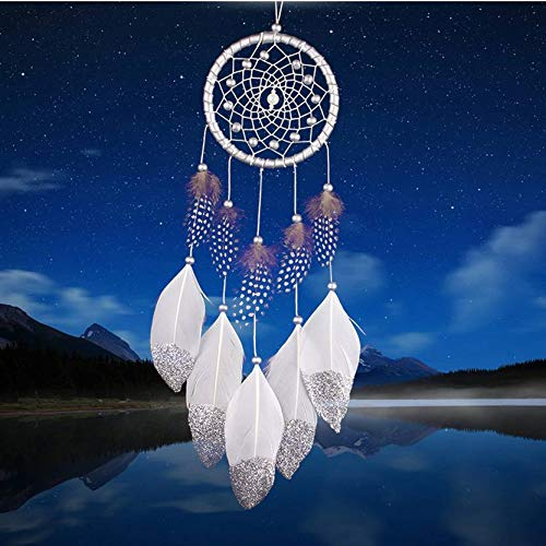 (QINGD's Handmade Silver Gold Bead Dream Catcher Indian Style Feather Pendant Dreamcatcher Car Hanging Decoration (Silver,One Size))