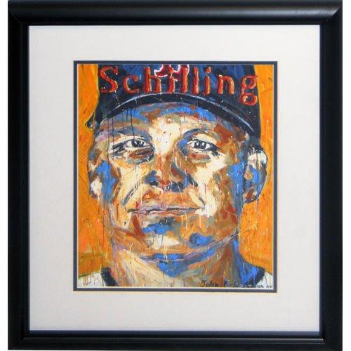 CURT SCHILLING JOHN ROBERTSON FRAMED 07 LITHOGRAPH RED SOX DIAMONDBACKS (Curt Schilling Framed Photo)